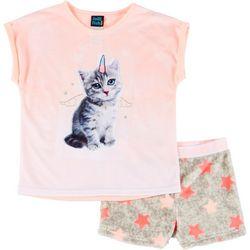 Big Girls Catcorn Pajama Shorts Set