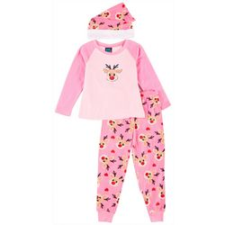 Girls Reindeer Pajama Set With Hat