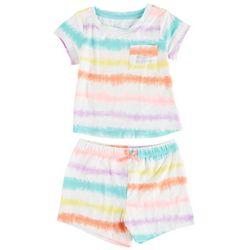 Sweet Dreams Little Girls 2-pc. Tie Dye Stripe Short Set