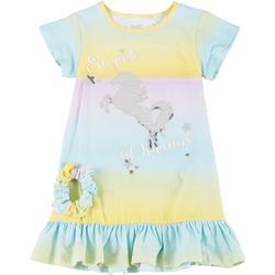 Little Girls 2-Pc. Unicorn PJ Gown & Scrunchie