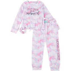Young Hearts Little Girls Mermaid Tie Dye Pajama Pants Set