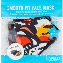 Boys 3-pk. Tiger Print & Solid Face Mask Set