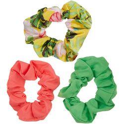 Nicole Miller New York 3-pk. Tropical Solid Hair Scrunchies