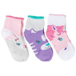 Girls 3-pk. Mallory Animal Faces Socks