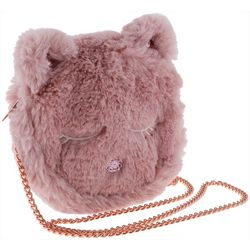 Girls Furry Cat Crossbody Handbag