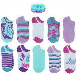 Girls 20-pk. Mermaid Socks With Bonus Hair Ponies