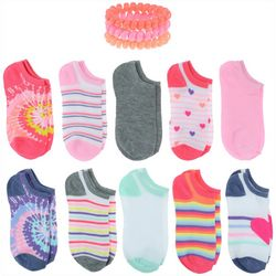 Girls 20-pk. Tie Dye Socks With Bonus Hair Ponies