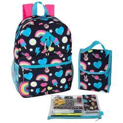 Rainbow Peace Heart Backpack Set