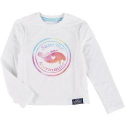 Chubby Mermaids Toddler Girls Long Sleeve Manatee T-Shirt