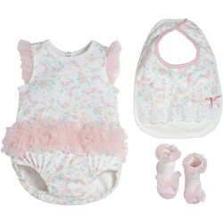 Baby Girls 3-pc. Floral Organza Bodysuit Set