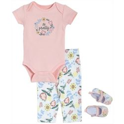 Baby Girls 3-pc. So Pretty Bodysuit Set