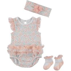 Baby Girls 3-pc. Floral Bodysuit Set