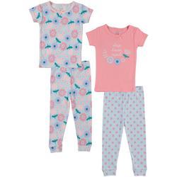 Baby Girls 4-pc. Floral Pajama Set