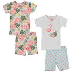 Baby Girls 4-pc. Flamingo Hibiscus Pajama Set