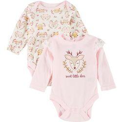 Baby Girls 2-pc. Sweet Little Deer Bodysuit Set