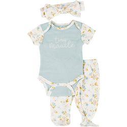 Kyle & Deena Baby Girls 3-pc. Tiny Miracle Bodysuit Set