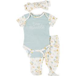 Baby Girls 3-pc. Tiny Miracle Bodysuit Set