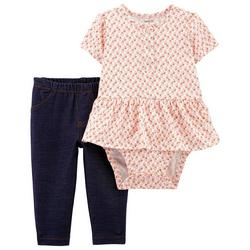 Baby Girls Short Sleeve Floral Peplum Bodysuit Set