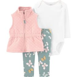 Baby Girls 3-pc. Quilted Vest Set