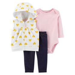 Baby Girls 3-pc. Heart Vest Set