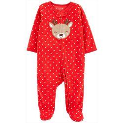 Baby Girs Long Sleeve Reindeer Zip Up Fleece Pajamas