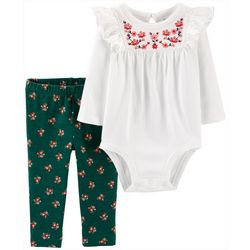Carters Baby Girls Floral Embroidery Bodysuit Set