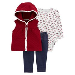 Baby Girls 3-pc. Floral Quilted Vest Set