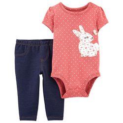 Carters Baby Girls Polka Dot Bunny Leggings Set