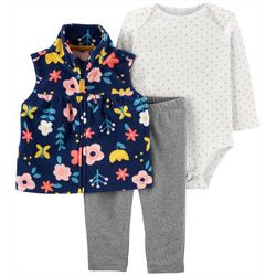 Baby Girls 3-pc. Floral Vest Leggings Set