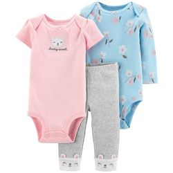 Baby Girls 3-pc. Beary Sweet Floral Layette Set