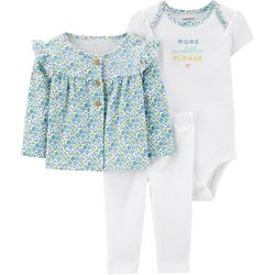 Carters Baby Girls 3-pc. More Cuddles Cardigan Layette Set