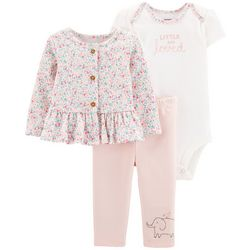 Carters Baby Girls 3-pc. Little And Loved Floral Layette Set