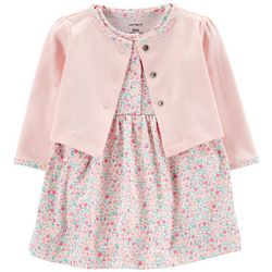 Baby Girls Floral Bodysuit Dress Cardigan Set