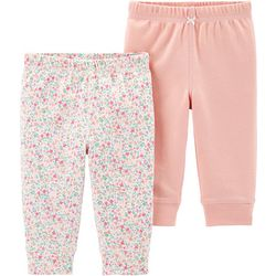 Carters Baby Girls 2-pk. Floral & Solid Pull-On Pants