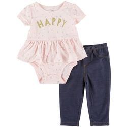 Baby Girls 2-pc. Happy Bodysuit Pant Set