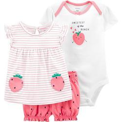 Baby Girls 3-pc. Strawberry Bodysuit Short Set
