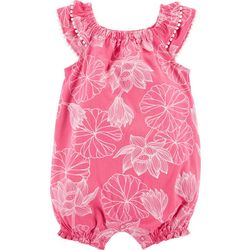 Carters Baby Girls Floral Flutter Sleeve Romper