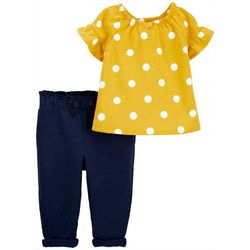 Carters Baby Girls Polka Dot Top & Pants Set