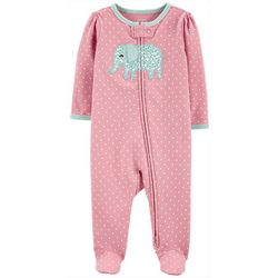 Carters Baby Girls Polka Dot Elephant Footie Pajamas
