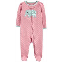Baby Girls Polka Dot Elephant Footie Pajamas