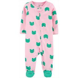 Baby Girls Frog Print Snug Fit Footie Pajamas