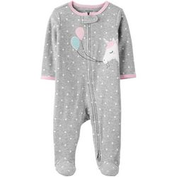 Carters Baby Girls Polka Dot Unicorn Snug Fit Footie Pajamas