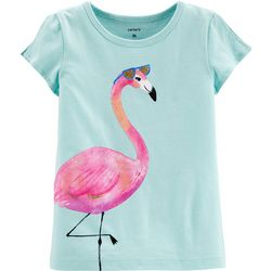 Toddler Girls Flamingo Split Shoulder Tee