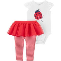 Carters Baby Girls Lady Bug Stripe Tutu Bodysuit Set