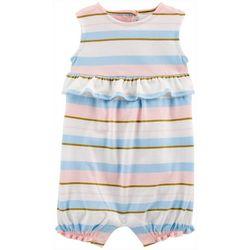 Baby Girls Striped Ruffle Romper