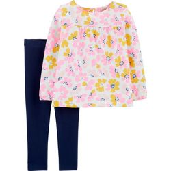 Toddler Girls Painted Floral Print Leggings Set