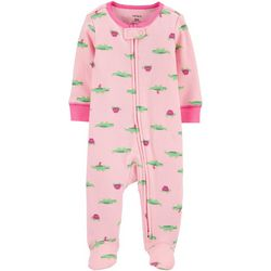 Carters Baby Girls Alligator Print Snug Fit Footie Pajamas