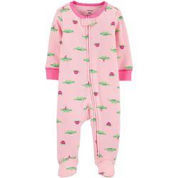Baby Girls Alligator Print Snug Fit Footie Pajamas