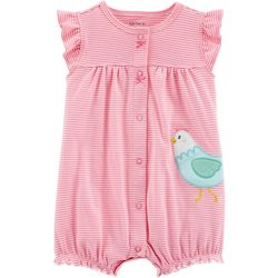 Carters Baby Girls Striped Rooster Romper
