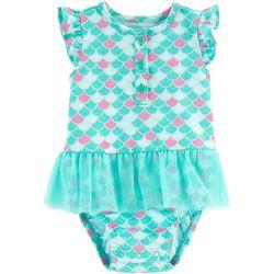 Carters Baby Girls Scale Print Tutu Bodysuit